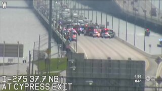 Crash on Howard Frankland Bridge ends with 3 people jumping off the bridge, police say