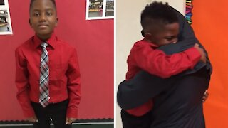 Little boy in tears after surprise reunion with older brother