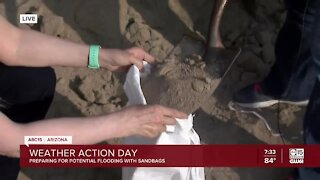Preparing for flooding with sandbags