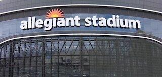 Crews working on Raiders' Allegiant Stadium screen