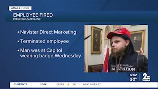 Maryland man seen wearing work badge during protests at U.S. Capitol fired from job