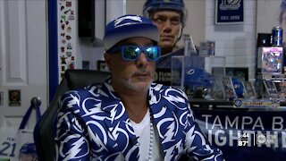 """""""My tribute to the Lightning."""" Tampa Bay Lightning superfan dedicates garage to Bolts fan cave"""