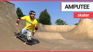Amputee Skateboarder hurtling down hill at breakneck speed