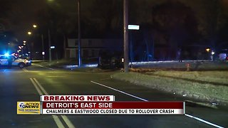 Intersection closed on Detroit's east side due to rollover crash
