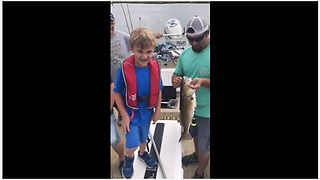 Kid Is Utterly Happy To Catch His First Fish
