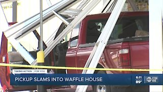 5 people injured, including a child, after pickup truck crashes into Tampa Waffle House
