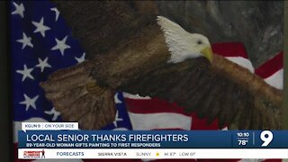 Local senior gives painting to first responders who helped her