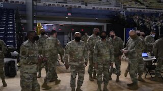 More Military Troops Arrive In Washington DC - National Guards Sets Up Base in U.S. Capitol
