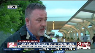 American Airlines workers protest outside Tulsa International Airport