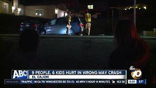 9 people, 6 kids injured in wrong-way crash