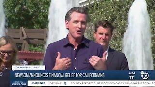 Gov. Newsom announces financial relief for Californians
