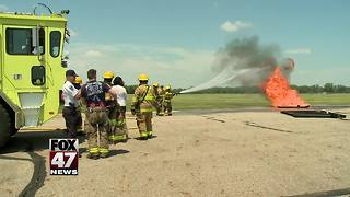 First responders conducting live fire training at airport