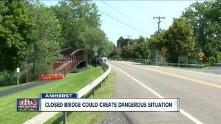 Closed Amherst pedestrian bridge could create dangerous situation