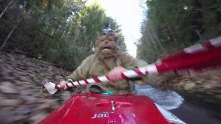Chewbacca from Star Wars in awesome downhill kayak