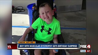 Boy with muscular dystrophy gets birthday surprise