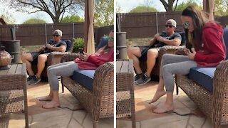Jokester husband pranks wife with hilarious 'snake' scare