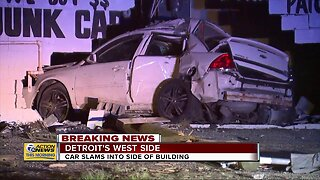 Car rams into building on Detroit's west side