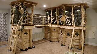 FATHER BUILDS DREAM INDOOR TREEHOUSE FOR HIS KIDS COSTING JUST $500