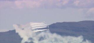 Thunderbirds do flyover as they head north