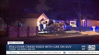 Car crashes into parked vehicles and home in Phoenix