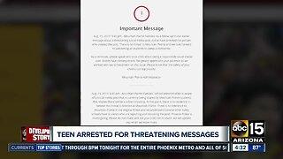 Teen arrested after threatening messages toward schools