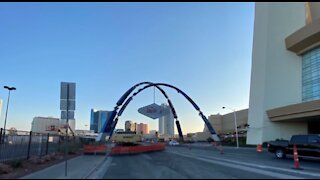 New gateway arch almost complete on Las Vegas Boulevard