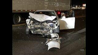 Wrong-way crash closed Interstate 15 in Las Vegas early Saturday morning