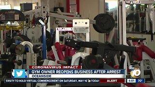 Gym owner reopens business after arrest