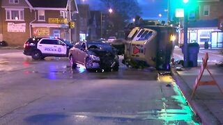 Two injured after car, street sweeper collide in Milwaukee