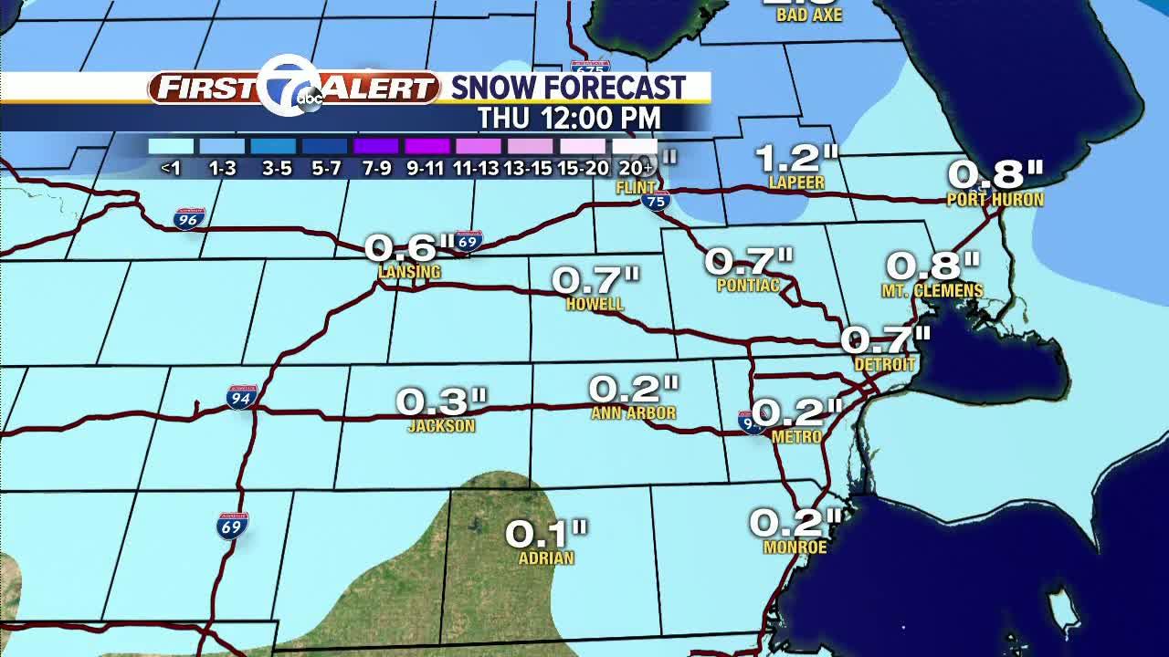 Snow moving through metro Detroit on Wednesday