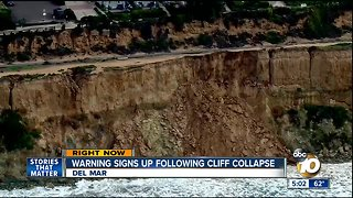 Warning signs posted after cliff collapse