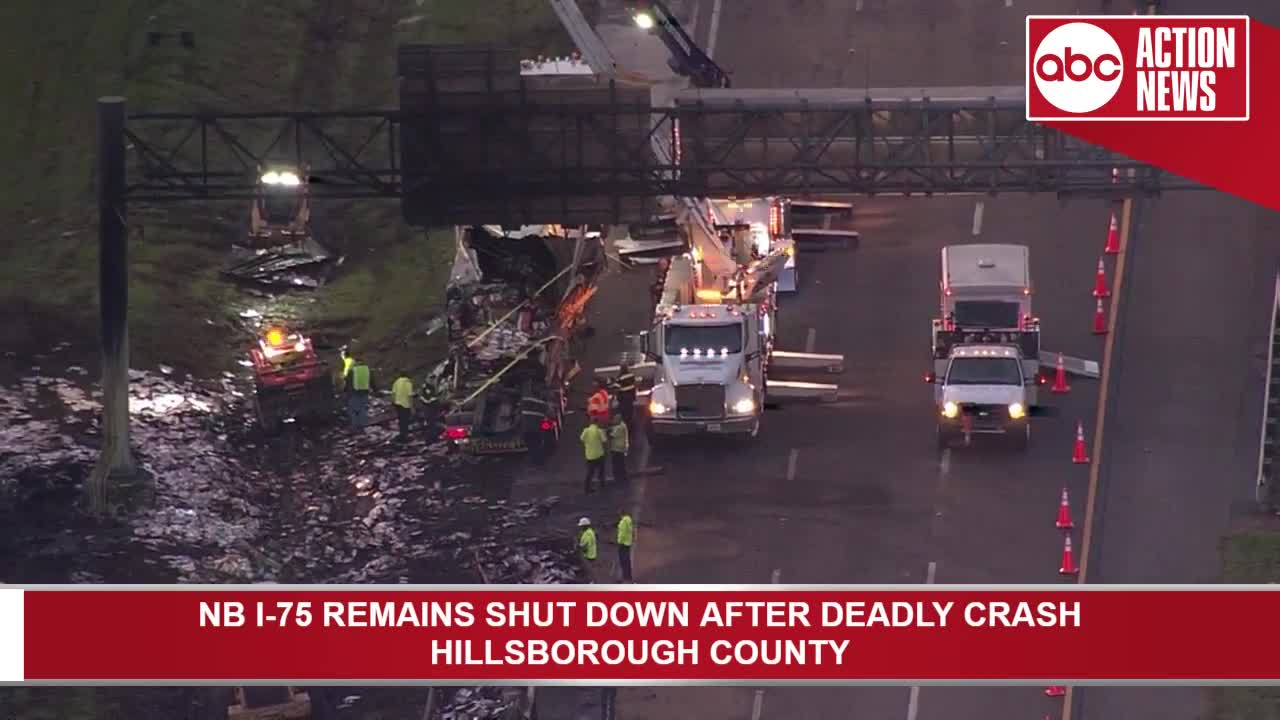 Crews clean up debris following deadly crash on NB I-75