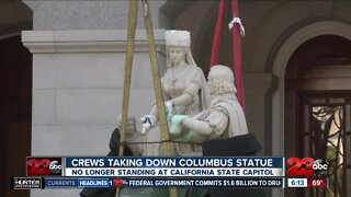 Crews take down Columbus statue at California state capital