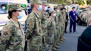 U.S. Defense Secretary Lloyd Austin visits the Cal State LA COVID-19 community vaccination center