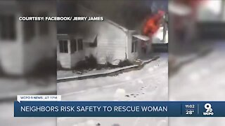 Neighbors risk safety to rescue woman trapped in fire