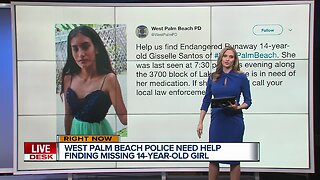 14-year-old girl missing in West Palm Beach