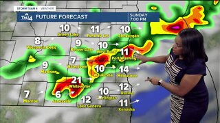 Scattered rain and storms Sunday night