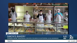 "Simon's Bakery says ""We're Open Baltimore!"""