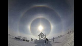 Breathtaking halo around winter sun in Minnesota
