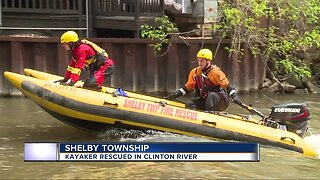 Kayaker rescued from Clinton River in Shelby Township