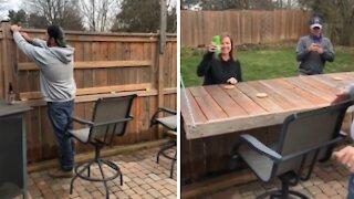 Dude turns his fence into a neighborhood bar
