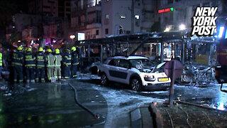 Video captures rocket strike in the Israeli city of Holon