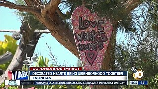 Decorated hearts bring neighborhood together