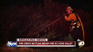 Fire crews battle brush fire in Lyons Valley