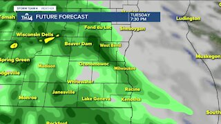 Rain showers continue into the evening Tuesday