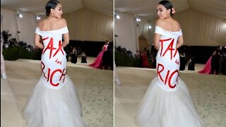 Public Servant AOC Wears 'Tax the Rich' Dress to $30k Per Ticket Event (Oh The Irony)