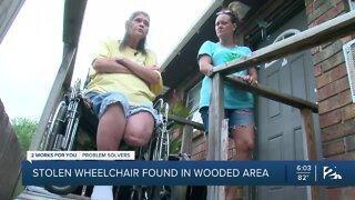 Stolen wheelchair found in wooded area