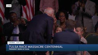 Pres. Biden talks to children at Tulsa event