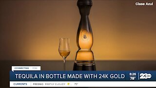 Tequila in bottle made from 24k gold