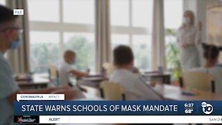 State warns schools of mask mandate
